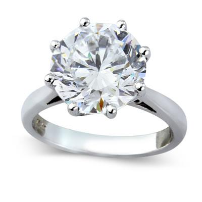 bague solitaire imitation parfaite de diamant de 2 carat or 18 carat 6 griffes la